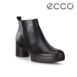 【ecco】SHAPE SCULPTED MOTION 35 復古粗跟拉鍊踝靴 女(黑 20763301001)