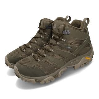 【MERRELL】戶外鞋 Moab 2 Mid GTX 寬楦 男鞋 登山 越野 防水 耐磨 黃金大底 透氣 綠 灰(ML99773W)