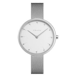 【OBAKU】晶鑽雋永時尚腕錶-銀(V233LXCIMC)