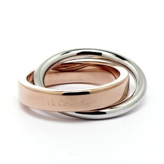 【Calvin Klein】coil雙環式愛戀玫瑰金時尚設計款戒指KJ63BR0101(CK戒指)