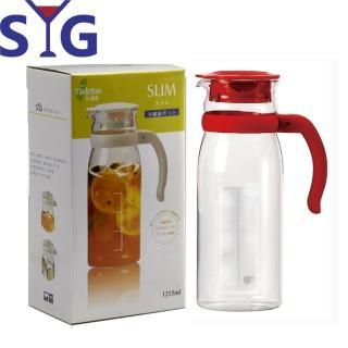 【SYG 台玻】精緻玻璃耐熱涼水壺-刻度(紅蓋-1215cc)