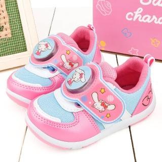 【童鞋城堡】Kitty X 布丁狗聯名款 中童 簡約透氣LED電燈運動鞋(KT7188-藍)