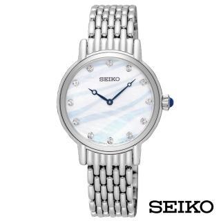 【SEIKO 精工】美人百光漣漪波紋女錶-波紋貝面x30mm(SFQ807P1)