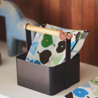 【收納職人】北歐簡約時尚鐵製木棍手提收納盒(咖啡色)