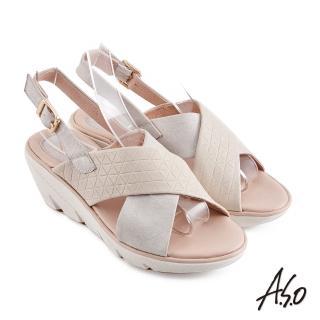 【A.S.O 阿瘦集團】機能休閒 厚底美學交叉條帶休閒底台涼鞋(米色)