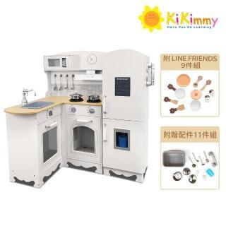 【kikimmy】加大版歐式木製大型聲光廚房玩具組(附配件11件)