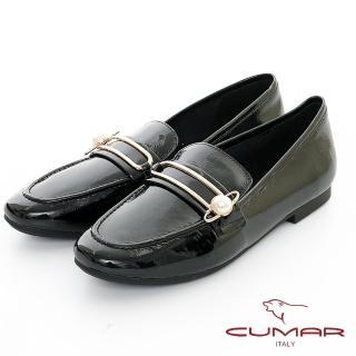 【CUMAR】極簡生活 - 金屬大珍珠飾釦軟漆平底休閒樂福鞋(黑色)