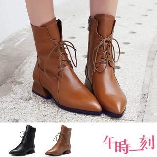 【午時一刻】復古尖頭時尚版型綁帶粗跟馬丁靴(2色任選)
