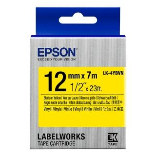 【EPSON】標籤帶 產業用耐久型 黃底黑字/12mm(LK-4YBVN)