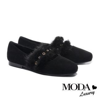 【MODA Luxury】低調奢華貂毛條帶全真皮方頭低跟鞋(黑)