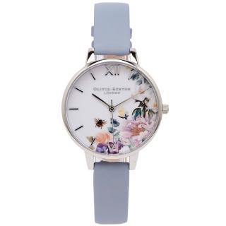 【Olivia Burton】花樣年華風采皮革手錶-白面X粉藍色/34mm(OB16EG114)