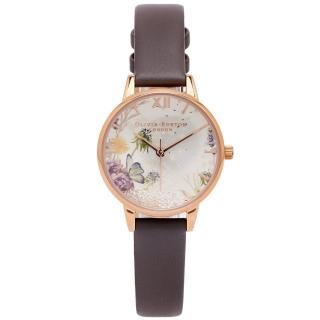 【Olivia Burton】蒲公英水晶魔力手錶-銀面X倫敦灰色系/30mm(OB16SG02)