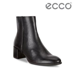 【ecco】SHAPE 35 BLOCK 風格舒適牛皮方跟短靴 女(黑 26740301001)