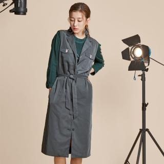 【PLAYBOY】綁帶長版風衣背心(鐵灰色)