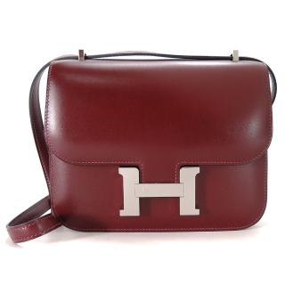 【Hermes 愛馬仕】Hermes Constance 18CM  BOX 斜背包(55愛馬仕紅/銀釦)