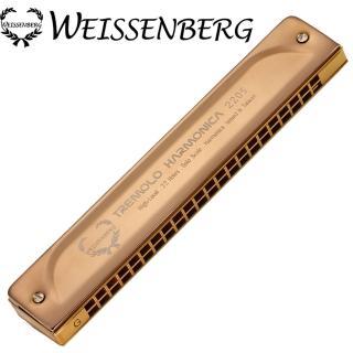 【韋笙堡 WEISSENBERG】特級款2205B-RG22孔銅合金複音口琴-玫瑰金