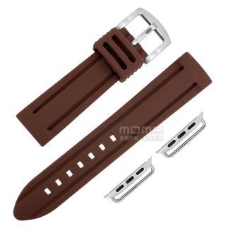 【Watchband】Apple Watch / 38.40.42.44mm / 蘋果手錶替用錶帶 蘋果錶帶 加厚 運動型 矽膠錶帶(咖啡色)