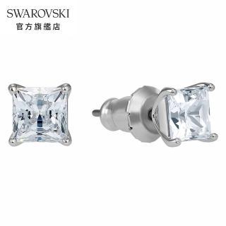 【SWAROVSKI 施華洛世奇】Attract 白金色方形璀璨寶石穿孔耳環 情人 禮盒