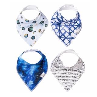 【Copper Pearl】雙面領巾造型圍兜口水巾4件組 - 銀河星空(快速到貨)