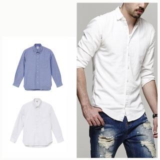 【United Athle】United Athle牛津扣領長袖襯衫 圓弧(2020秋冬新款)
