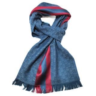 【GUCCI 古馳】544620 經典織帶羊毛混絲雙色流蘇披肩/圍巾(藍色)