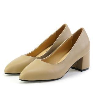 【OLLIE】韓國空運/版型偏小。素色皮革淺口尖頭中跟粗跟鞋(72-707共3色/現貨)