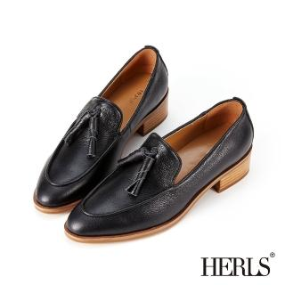 【HERLS】樂福鞋-全真皮捲心流蘇尖頭粗跟樂福鞋(黑色)
