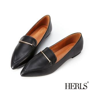 【HERLS】樂福鞋-一字金屬釦鐶尖頭平底鞋樂福鞋(黑色)/
