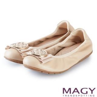 【MAGY】甜美舒適 金屬造型飾扣鬆緊帶牛皮娃娃鞋(裸色)