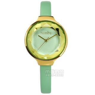 【rumba time】Orchard Gem Leather 紐約品牌 切割玻璃鏡面 日本機芯 真皮手錶 湖水綠x金框 30mm(RU28072)