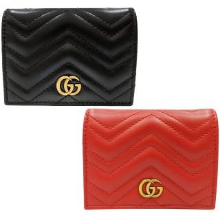 【GUCCI 古馳】466492 GG Marmont matelasse系列絎縫紋牛皮金屬雙G LOGO暗釦卡夾/零錢包短夾(兩色可選)