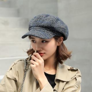 【Acorn 橡果】韓系英倫風千鳥格畫家帽鴨舌帽貝蕾帽八角帽1701(黑色)