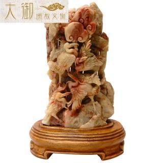 【大御佛教文物】仙鶴如意壽山石擺件(2443)