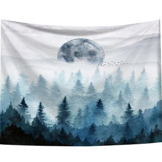 【半島良品】贈星星燈-迷霧森林/北歐掛布掛毯(掛毯 掛畫 沙灘巾 牆面布 背景布 沙發巾 ins 裝飾掛布掛毯)