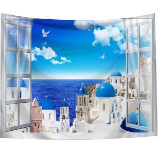 【半島良品】贈星星燈-窗景愛琴海/北歐掛布掛毯(掛毯 掛畫 沙灘巾 牆面布 背景布 沙發巾 ins 裝飾掛布掛毯)