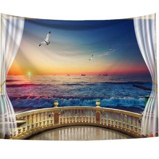 【半島良品】贈星星燈-窗景海景/北歐掛布掛毯(掛毯 掛畫 沙灘巾 牆面布 背景布 沙發巾 ins 裝飾掛布掛毯)
