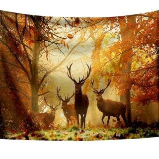 【半島良品】贈星星燈-麋鹿森林/北歐掛布掛毯(掛毯 掛畫 沙灘巾 牆面布 背景布 沙發巾 ins 裝飾掛布掛毯)