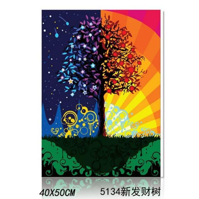 【半島良品】5134/發財樹-DIY手繪油畫/數字油畫(掛畫