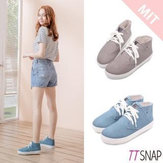 【TTSNAP】休閒鞋-MIT細緻水洗帆布綁帶厚底鞋(藍)