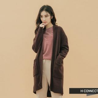 【H:CONNECT】韓國品牌 女裝 -開襟雙口袋針織外套(棕色)