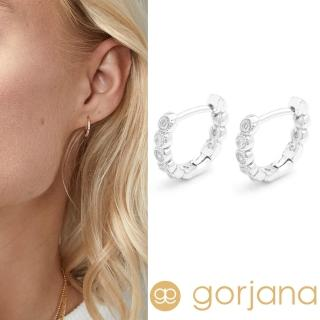 【GORJANA】Madison Shimmer 迷你小圓耳環 C型鑲鑽耳環 銀色(鑲鑽耳環)