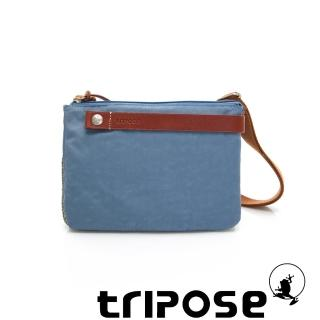【tripose】漫遊系列岩紋輕巧可拆式雙層斜揹小包(天空藍)