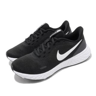 【NIKE 耐吉】慢跑鞋 Revolution 5 運動 女鞋 輕量 透氣 舒適 避震 路跑 健身 穿搭 黑 白(BQ3207-002)