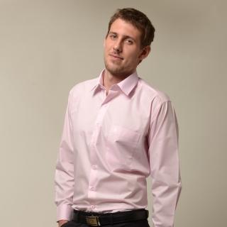 【金安德森】粉紅色基本款長袖襯衫