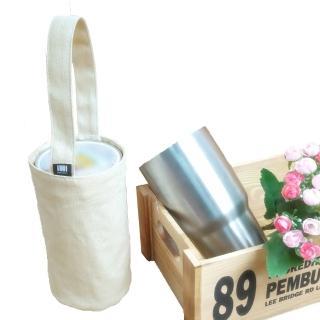 【IHERMI】素色 白色提把 不鏽鋼飲料杯提袋(冰壩杯杯袋 冰壩杯提袋 杯套 杯袋 飲料杯套)
