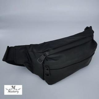 【Misstery】腰包熱壓PU面料休閒旅遊腰包-黑(熱壓PU面料系列)
