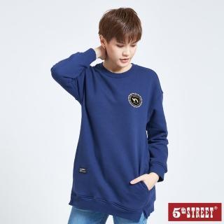 【5th STREET】女長版衛衣長袖T恤-丈青