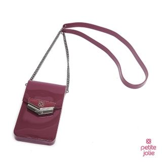 【Petite Jolie】盾牌LOGO果凍手機包(酒紅色)