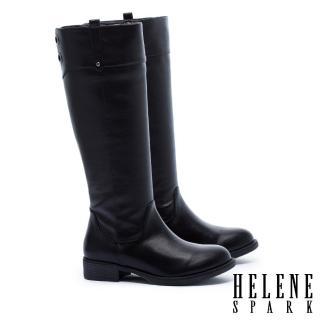 【HELENE SPARK】簡約百搭金屬鉚釘點綴粗低跟長靴(黑)