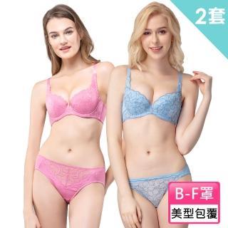 【Swear 思薇爾】蕾絲B-F罩包覆內衣隨機2套組(粉+藍)